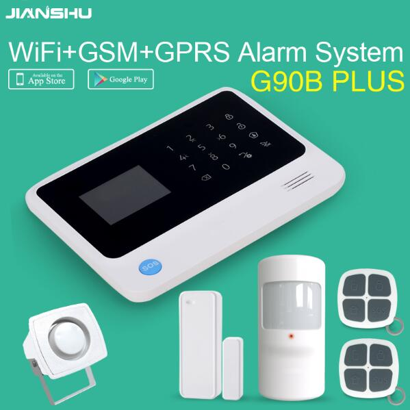 G90B plus WIFI gsm Alarm System APP Control GSM WIFI Alarm System Wireless Home Burglar Alarm CE FCC wireless intruder alarm gs x1 2 7 screen app control 4 channel wireless gsm home alarm system white black us plug