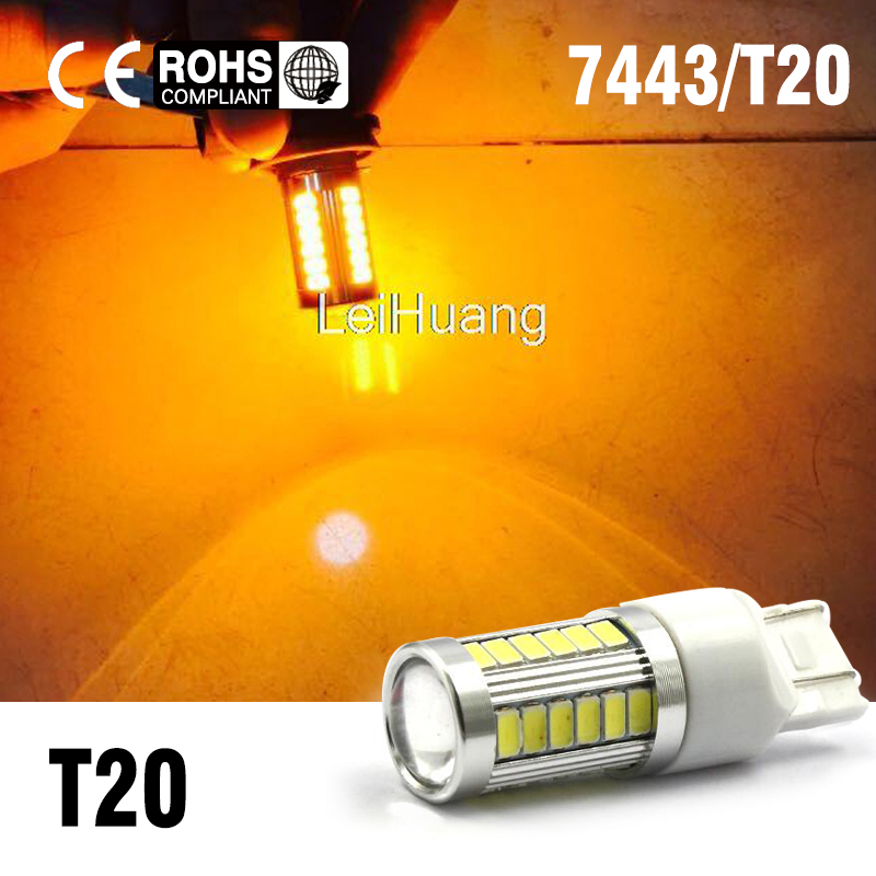 2 X 5730 7443 33-LED High Power Backup Reverse Turn Signal LED Light 7440 7444N yellow