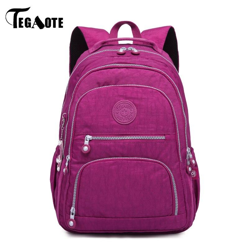 TEGAOTE fashion nylon women backpack multicolor casual schoo