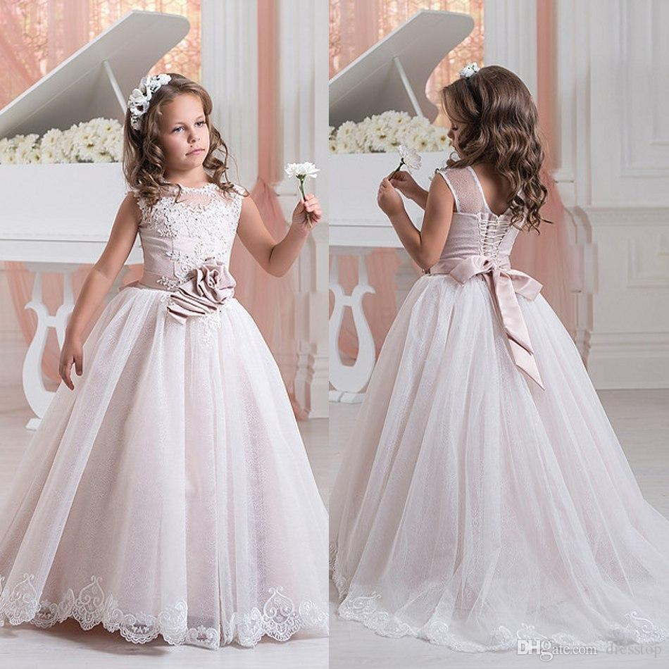 New Lace Flower Girl Dresses For Weddings Appliques Kids Pageant