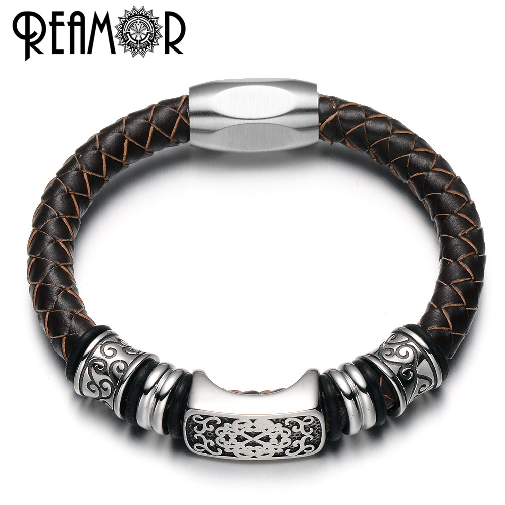 REAMOR 316L Stainless Steel Fashion Charms Beads Bangles 17-21cm Men Bracelets 8mm Genuine Leather with Magnet Clasp Bracelet