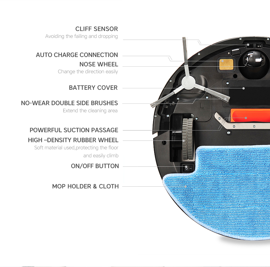 ISEELIFE 1300PA Smart Robot Vacuum Cleaner 2in1 for Home Dry Wet Water Tank brushless motor Intelligent Cleaning ROBOT ASPIRADOR