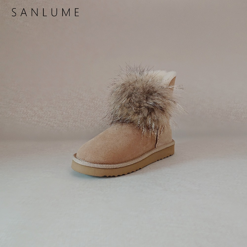 SANLUME décontracté chaussures d'hiver femmes réel fourrure de renard bottes de neige en peau de mouton imperméable garder au chaud cheville bottes antidérapant EVA semelle