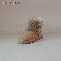 Sanlume 캐주얼 겨울 신발 여성 리얼 폭스 모피 스노우 부츠 방수 양모 따뜻한 발목 부츠 미끄럼 방지 eva 단독|앵클 부츠|   -
