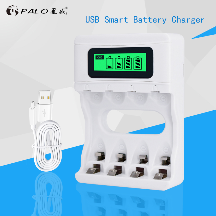 Palo Smart Intelligent AA AAA Battery Charger Smart USB Charger for AA AAA NI-MH NI-CD Rechargerable battery With LCD Screen цена