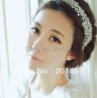 2013 New Wholesale And Retail Fashion Handmade Crystal Beads Bridal Wedding Elastic Hairband Headband Hair Accessories