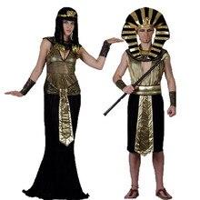 Faraó egípcio Trajes Cosplay Partido Das Mulheres Dos Homens Adultos Rei Fancy Dress Costume Para O Natal Ano Novo Feriado Do Dia Das Bruxas