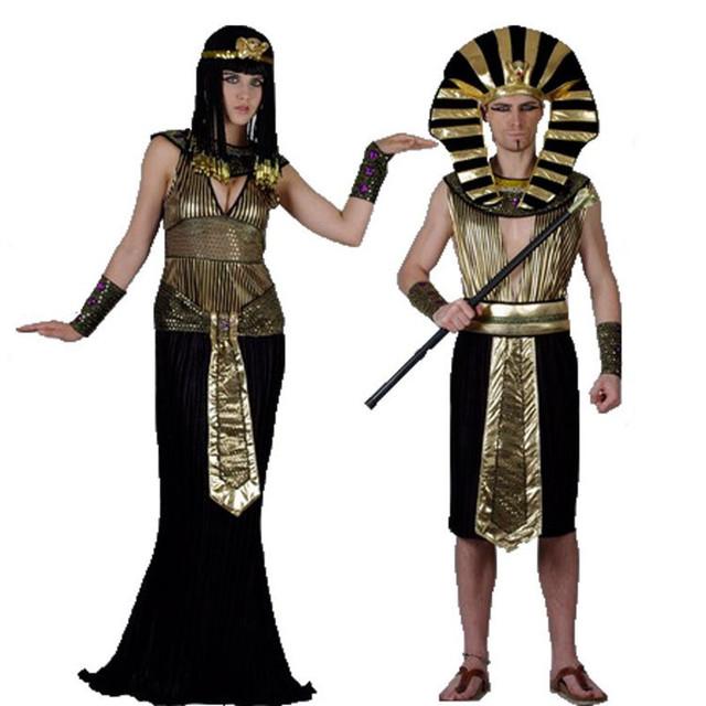 Faraó egípcio trajes adultos do partido do dia das bruxas roupas cleópatra faraó egípcio rei homens fancy dress traje para o dia das bruxas