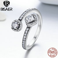BISAER Genuine 925 Sterling Silver Round Square Sparking CZ 3 Size Open Finger Rings For Women