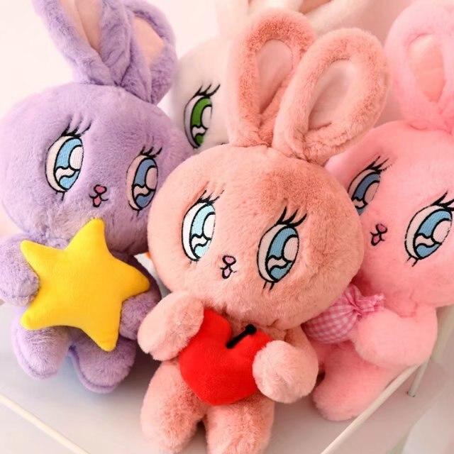 40cm Kawai Toy Animal CHUU Rabbit Inwrought-eyes 5-stars /Sugar/ Cherry Dakimakura Kids Dorm Sleepy Ragdoll Plush Model Toy