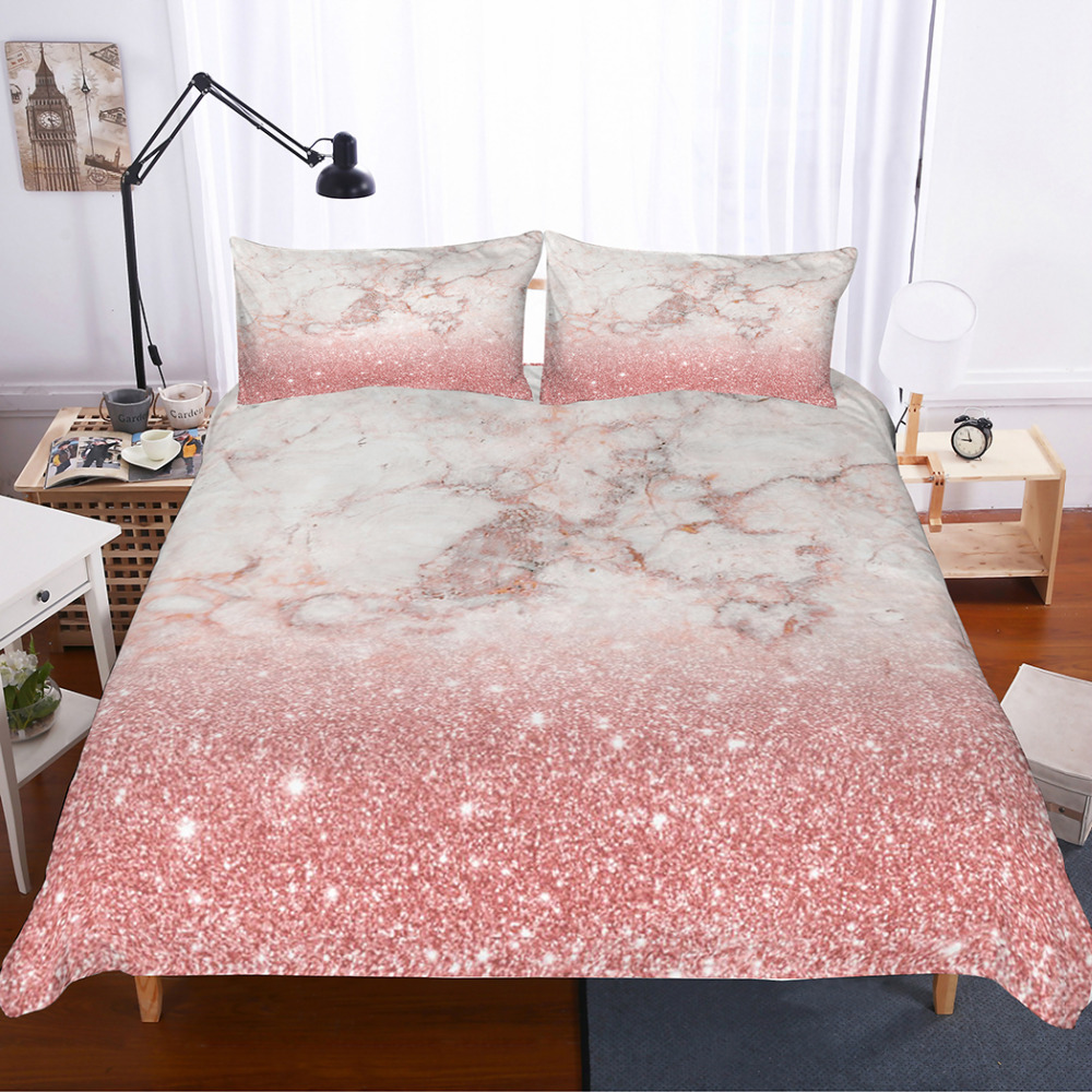 Musolei 3d Bedding Set Pink Rose Gold Marble Texture