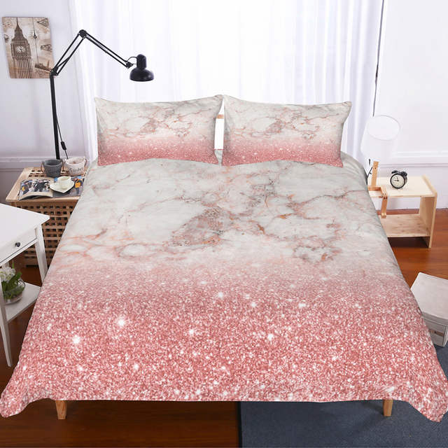 Musolei 3d Bedding Set Pink Rose Gold Marble Texture Bedding