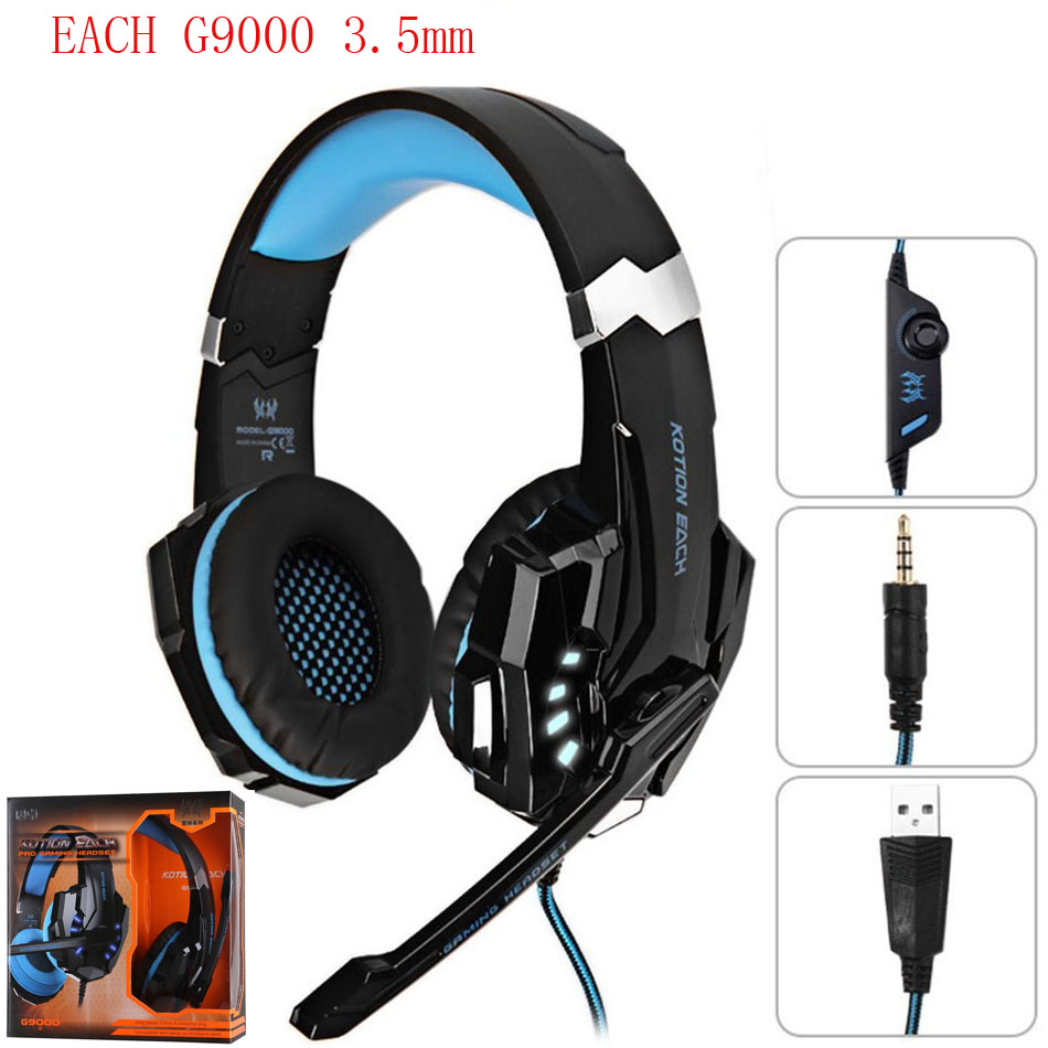 KOTION EACH G9000 3.5mm Pro Gaming Headphone Game Headset Earphone Auriculares Mic LED Light for Laptop Mobile Phones PC Gamer each g9000 pro gaming headphone headband game earphone microphone led light 7 1 surround sound casque for pc gamer headset