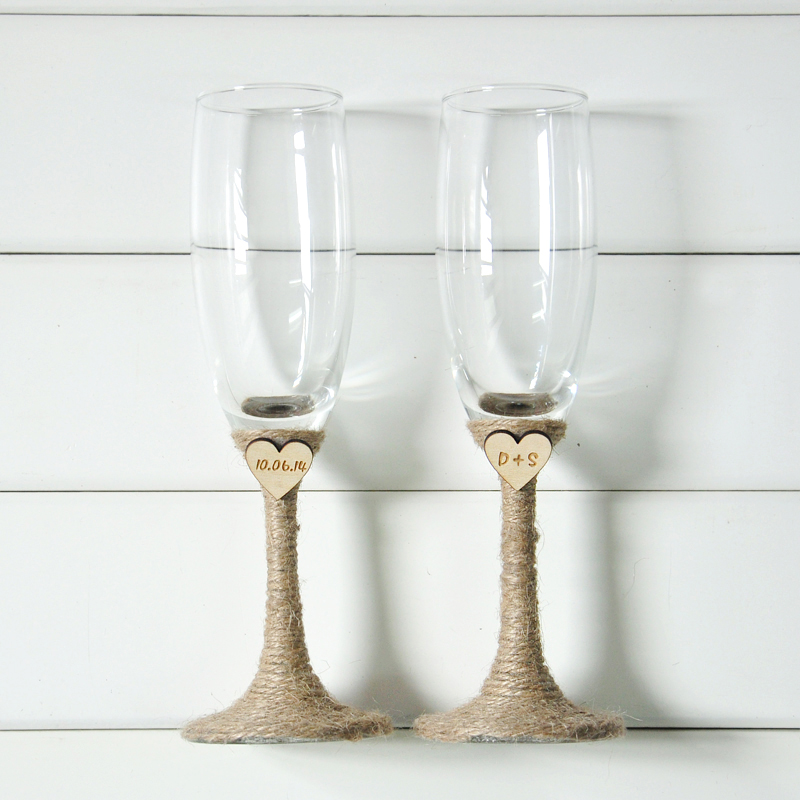Rustic Wedding Champagne Toasting Flutes Personalized ...
