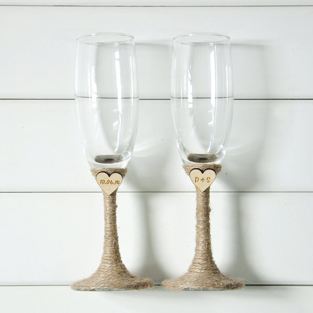 Rustic Wedding Champagne Toasting Flutes Personalized Gles Set