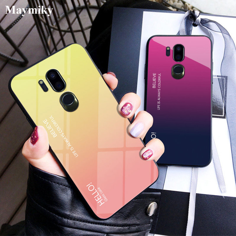 Translucent Gradient Tempered Glass Case For LG G7 G 7 ThinQ /Plus 6.1 Inch TPU Soft Edge Full Cover For LG G7 Case