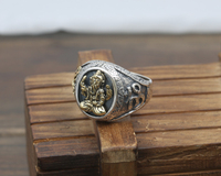 DL S925 Sterling Silver Men's Rings Index Finger Elephants Idols Gods Rings Punk Wind J144