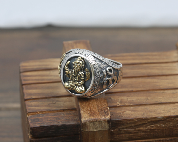 DL S925 bagues en argent Sterling pour hommes Index doigt éléphants idoles dieux anneaux Punk vent J144