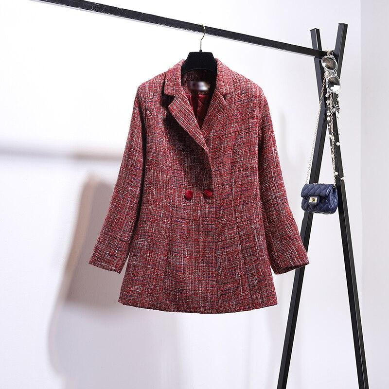 De Parfumé Pièce Mélange Rouge Patch Petit Sling Robe Femmes Costume Laine Femelle Veste Deux Automne Tweed Velours Hiver Vent 2018 Ensembles Manteau qTIp1H