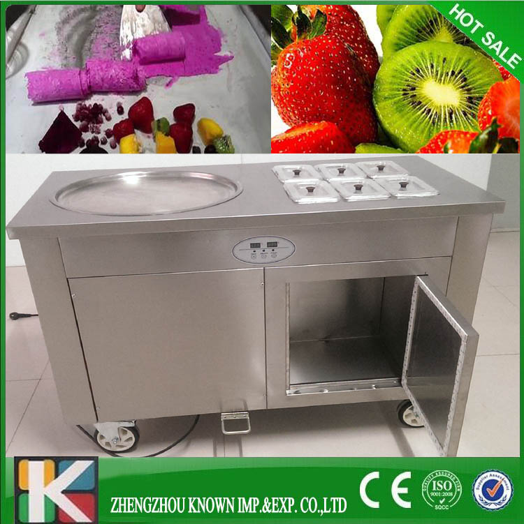 R410A single big 45cm pan  Most Popular Single Pan Thailand Rolled Fry Ice Cream with 4pcs shovel 45 r pубашка
