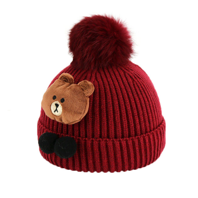 4f540d232cc Child Unisex Cable Knit Beanies Cartoon Design Pom Pom Hats Kids Winter  Warm Cuffed Caps Skullcap