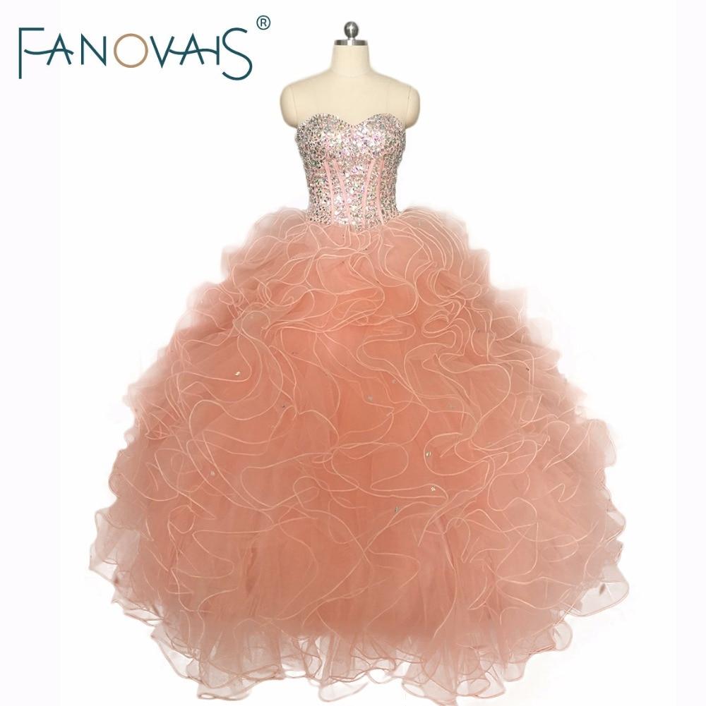 Orange Pink Beads Quinceaners Dresses Dance Dress vestidos de 15 anos Beads Top Ruffles Prom Dress Sweet 16 Dress For Princess