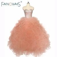 Orange Pink Beads Quinceaners Dresses Dance Dress Vestidos De 15 Anos Beads Top Ruffles Prom Dress