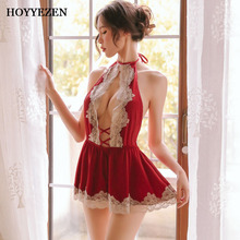 Hoyyezen sexy sleepwear pajamas woman mood gathered perspective apron straps underwear ultra short nightdress set