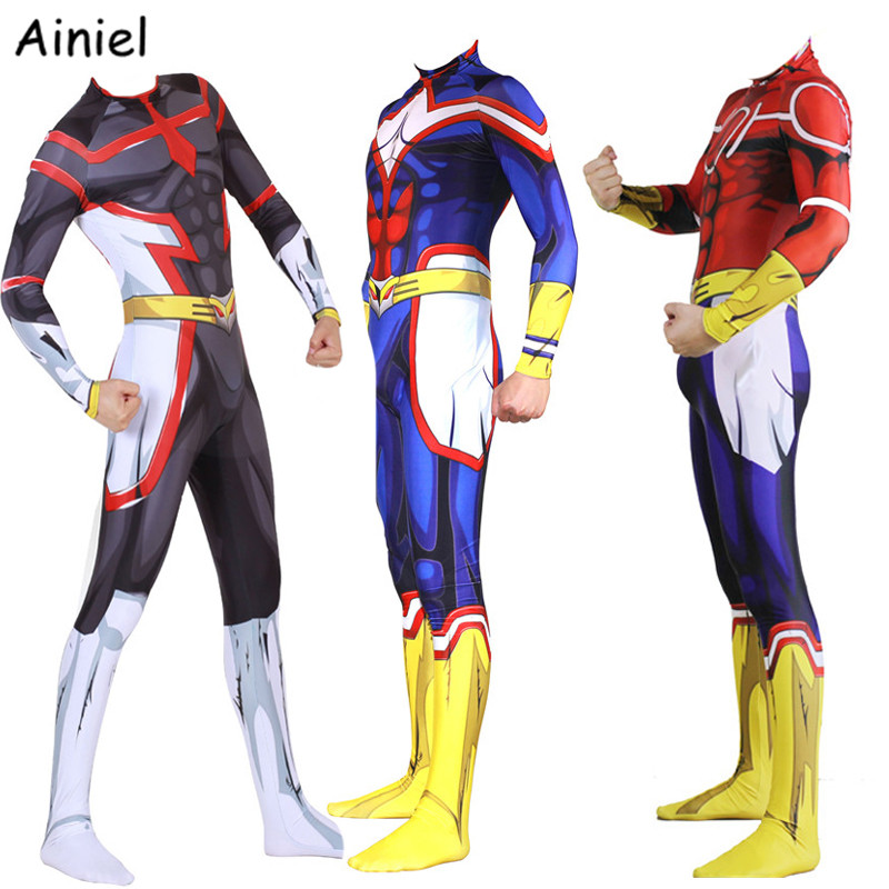 Anime My Hero Academia All Might Cosplay Costume Clothing Jumpsuit Bodysuit Spandex Suit Halloween Party for Adult Men Kids boys