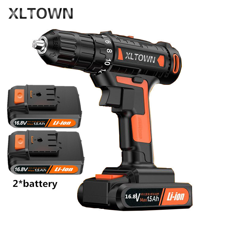 цена на Xltown 16.8v High-end Rechargeable Lithium Battery Electric Screwdriver with 2 battery Large Torque Household Drill Power Tools