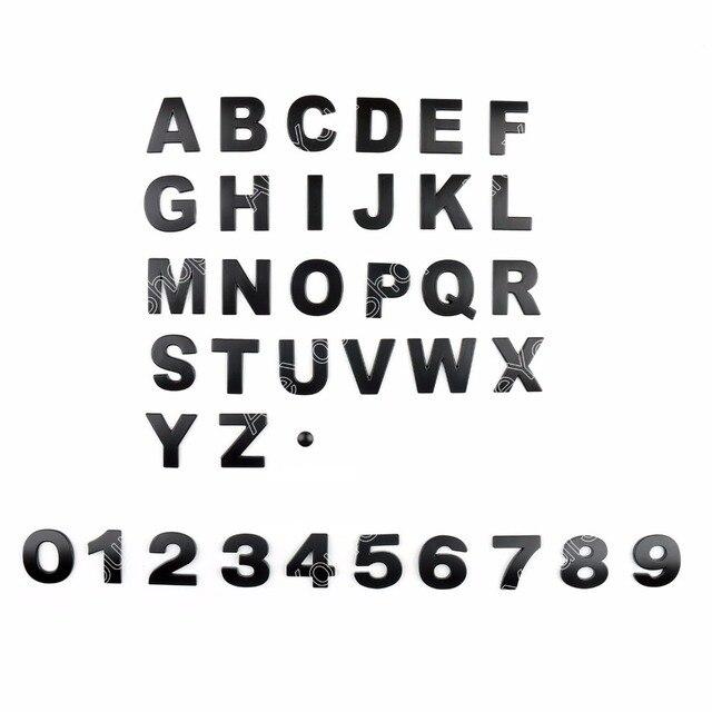 Areyourshop diy metallic alphabet sticker car emblem letter black badge decal 45mm for audi for vw