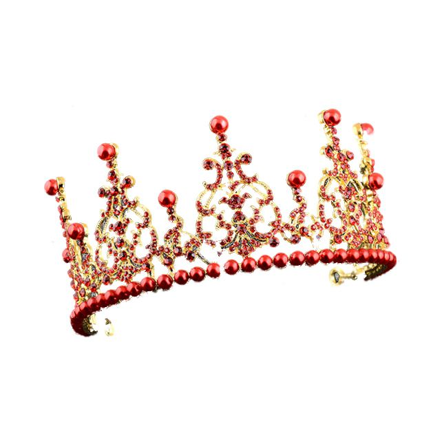 1 Gold + Red alloy artificial pearl bride crown bride hair ornament size: high 7.5cm