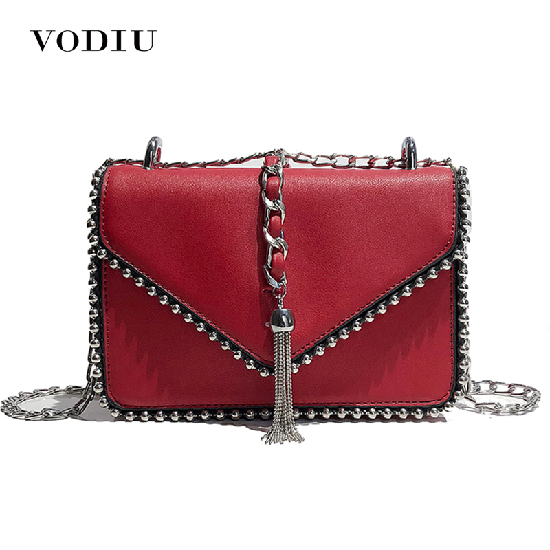 Women Handbag Leather Bag Women Shoulder Bag Crossbody Women Messenger Bag Female Rivets Metal Tassel Designer Chain Vintage casual rivets and tassel design crossbody bag for women href