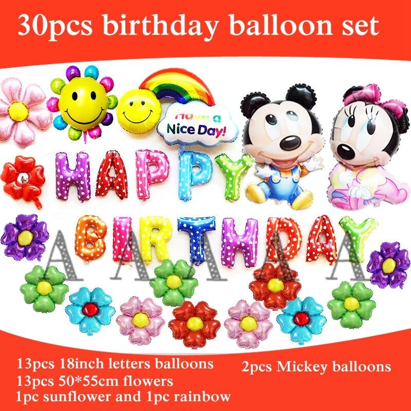 30pcs birthday balloons set foil material mickey minnie balloons happy birthday