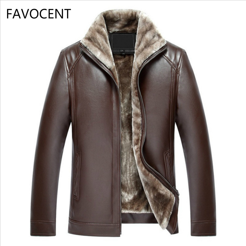 Новинка 2019, мужская кожаная куртка, пальто из искусственной кожи, Мужская брендовая одежда, теплая верхняя одежда, зимние меховые мужские фл...