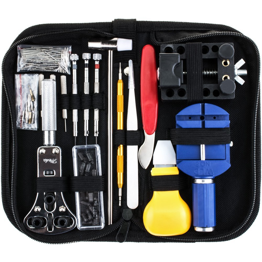 147 PCS Watch Clock Repair Tool Kit Professional Spring Bar Tool Set Watch Band Link Pin Remover Tool Set with Carrying Case