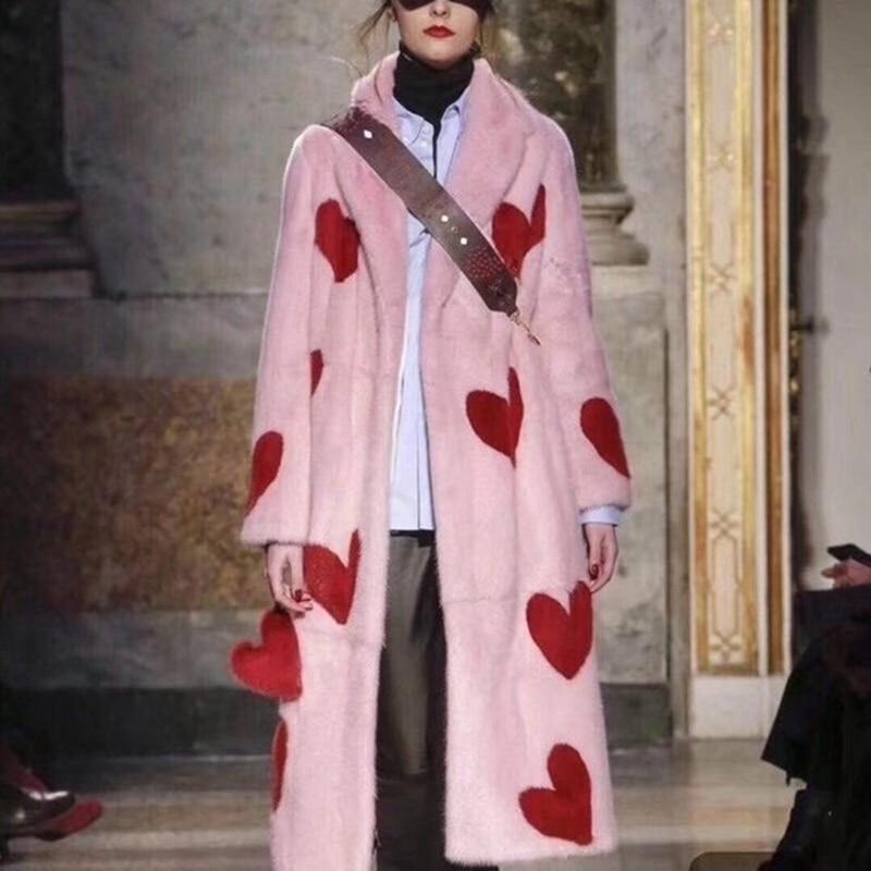 Natural Mink fur long Winter Woman Coats 2018 Genuine Fur Coats Women Real Mink Fur Coat Plus Size Love pink Fedex SHIPPING