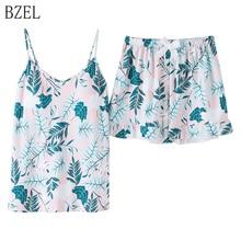 Bzel 2 pçs pijamas conjunto feminino com decote em v pijamas de algodão e shorts pijamas calças curtas senhora pijamas lingerie pijamas terno