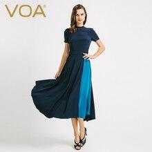 VOA new summer and Spring silk dress turtleneck collar short sleeved turtleneck A6720 retro slim dresses