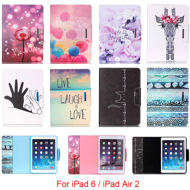 For Apple iPad 6 iPad6 Case Fashion Cartoon Pattern Folio PU Leather With Card Slot Protector Back Cover For iPad Air 2 9.7''