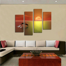 Beautiful sunset sailboat scenery oil painting 4 Pieces modern fashion HD print landscape wall art pictures