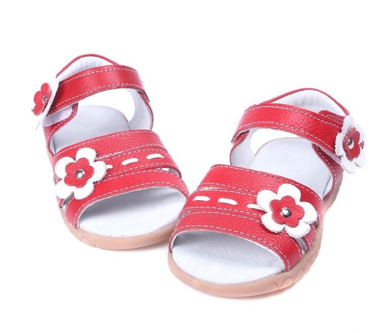 Sandq детский для девочек, красные летние туфли из мягкой кожи с открытым носком; женская обувь; белые цветы подарок нескользящая подошва ручной работы Новое поступление студент