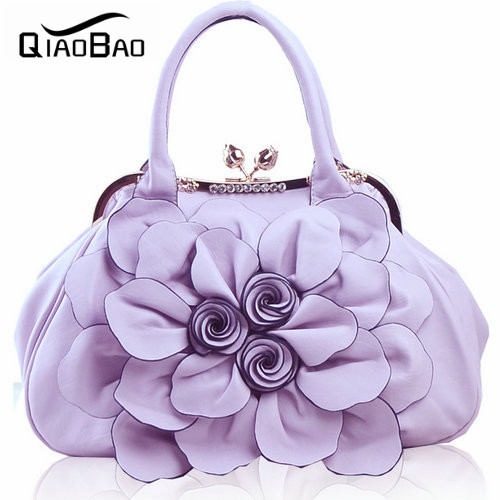 ФОТО QIAOBAO HOT!!!2017 women's candy color handbag vintage fashion shoulder Flower bag Patent Leather bags women messenger bag