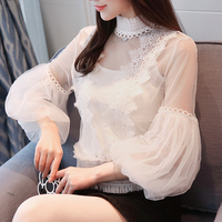 Women Clothing New 2018 Spring Autumn Long Sleeved Lace Shirts Tops Elegant Stand Collar Slim Hollow