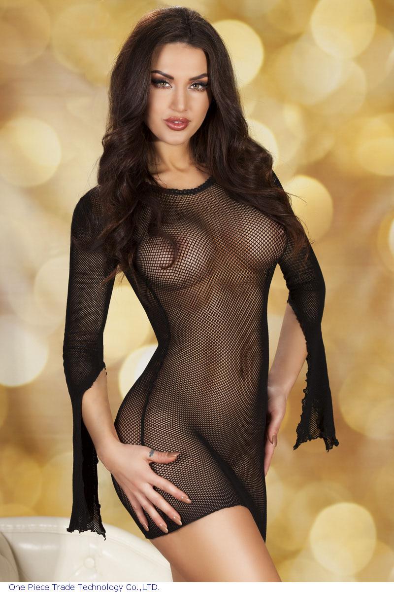 Through fishnet lingerie see