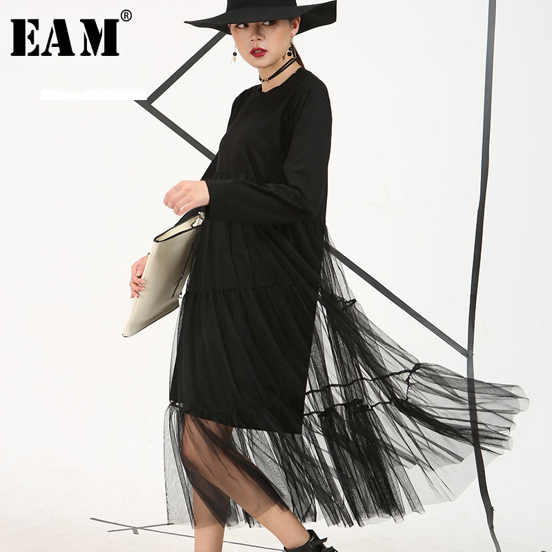 [EAM] 2020 Spring New  Black Color Stitching Perspective Gauze Loose Large Size Long-sleeved Mesh Dress Women AS3361