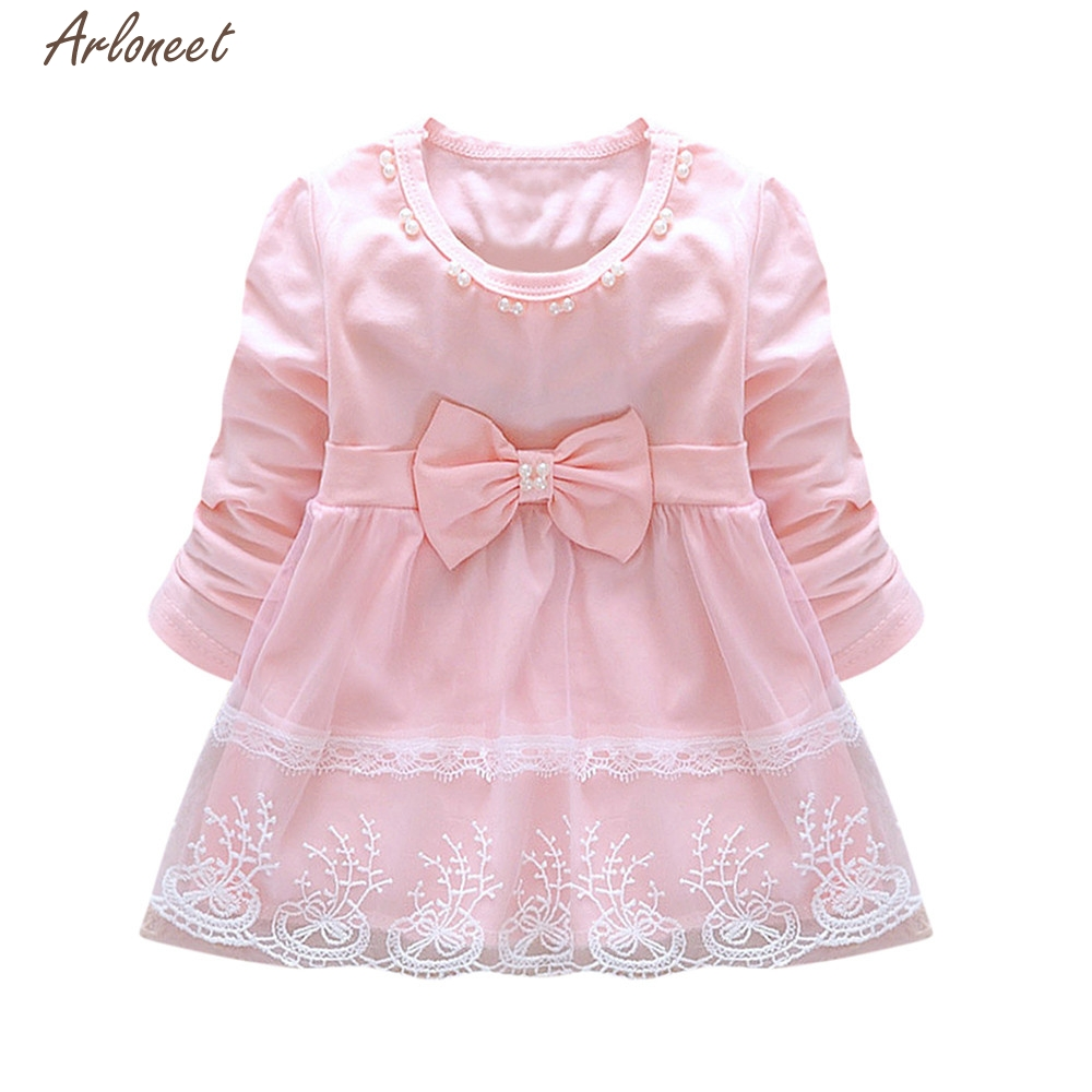 цены TELOTUNY Baby Dress Toddler Baby Girls Bowknot Lace Long Sleeve Princess Elegant Tutu Dress Clothes Y120430