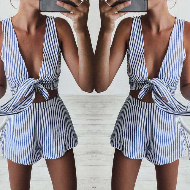 4b974d2ed029 placeholder Two Piece Set Blue Striped Playsuits Beach Casual Short Pants Jumpsuit  Rompers Sexy Sleeveless V Neck