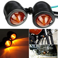 2Pcs/Set Motorcycle Black PC Lens Bullet Metal Turn Signal Indicator Amber Light For Harley