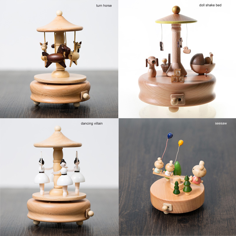 Chirstmas New Year Home Decor Accessories Wood Crafts Kawaii Retro Birthday Gift Children Toy Carousel Musical Boxes